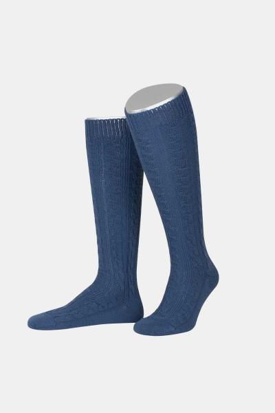 Trachtenkniestrumpf Stahlblau